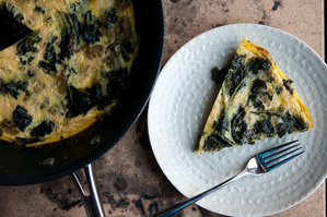 Mustard Greens Frittata + Potato Salad with Cured Salmon