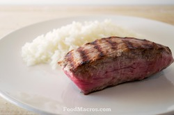 white rice and steak
