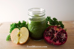 Green kale, pomegranate and apple smoothie