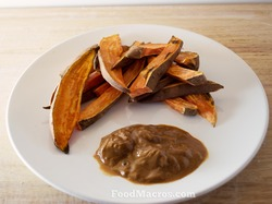 Sweet baked potato fries with peanut butter