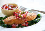 Quick Stovetop Chicken Cutlets with Fresh Cherry Salsa Recipe
