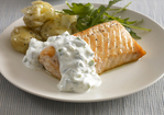 Baked Salmon with Cucumber Dill Sauce Recipe