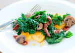 Kale, Mushroom and Tomato Saute with Polenta Recipe