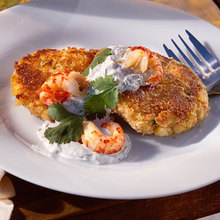 Crawfish Cakes with Cilantro-Lime Cream Recipe