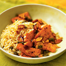 Salmon Scallopini with Almond Orzo Recipe