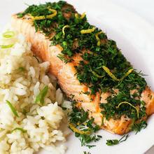 Fresh-Herb Salmon with Jasmine Rice Recipe