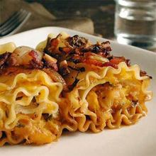 Squash-Stuffed Cannelloni with Roasted-Shallot Sauce and Hazelnuts Recipe