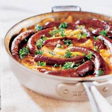 Merguez Sausages with Scalloped Potatoes Recipe