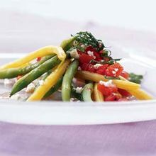 Green and Yellow Bean Salad with Chunky Tomato Dressing and Feta Cheese Recipe