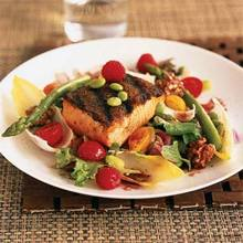 Grilled Salmon Salad with Raspberry Vinaigrette Recipe