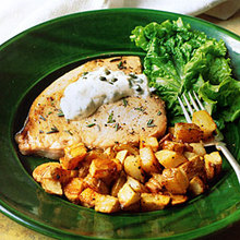 Roasted Swordfish and Potatoes with Caper Mayonnaise Recipe