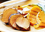 Grilled Spice-Rubbed Pork Tenderloin with Sweet Potatoes and Scallions Recipe