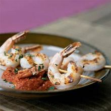 Grilled Shrimp Skewers with Romesco Recipe