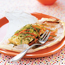 Parchment-Baked Halibut With Pesto, Zucchini, and Carrots Recipe