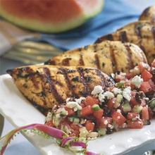Herb-Grilled Chicken With Watermelon-Feta Salad Recipe