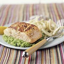 Seared Salmon on Herbed Mashed Peas Recipe