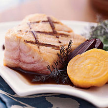 Grilled Wild Salmon with Roasted Beets and Arugula Recipe
