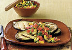 Grilled Eggplant With Sweet Pepper-Tomato Topping Recipe