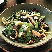 Stir-fried Greens with Pork, Shiitakes, and Black Bean Sauce Recipe