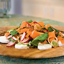 Raw Spring Vegetable Salad with Goat Cheese Recipe