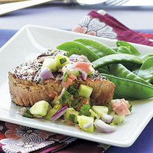 Grilled Tuna Steaks with Cucumber-Pickled Ginger Relish Recipe