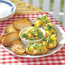 Avocado-and-Mango Salsa Crostini Recipe