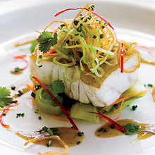 Grouper with Cucumber Salad and Soy-Mustard Dressing Recipe