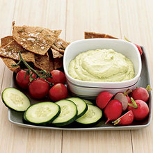 Curried Tofu-and-Avocado Dip with Rosemary Pita Chips Recipe