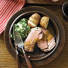 Lamb Shoulder Roast with Roasted Garlic Sauce Recipe