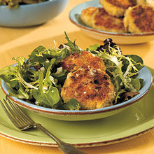 Crab Cakes over Mixed Greens with Lemon Dressing Recipe
