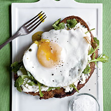 Open-Faced Sandwiches with Ricotta, Arugula, and Fried Egg Recipe