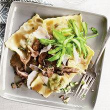 Ricotta-Pea Ravioli with Asparagus and Mushrooms Recipe