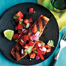 Pan-Grilled Salmon with Red Pepper Salsa Recipe