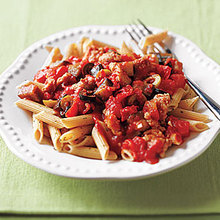 Whole-Wheat Penne with Sausage, Eggplant and Olives Recipe