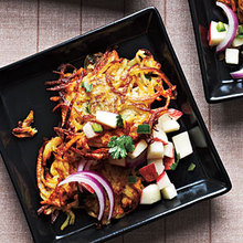 Curried Butternut Squash and Potato Latkes with Apple Salsa Recipe
