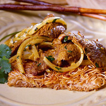 Noodle Cakes with Coconut-Beef Stir-Fry Recipe