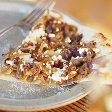 Pizza with Caramelized Onions, Feta, and Olives Recipe