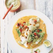 Fish Tacos with Cabbage Slaw and Avocado Crema Recipe