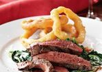 Grilled Flat-Iron Steaks, Semolina Onion Rings & Creamy Truffled Spinach Recipe