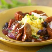 Polenta with Sausages and Tomato-Olive Ragout Recipe