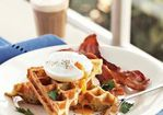 Savory Waffles with Poached Eggs & Bacon Recipe