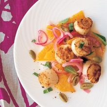 Seared Scallops with Orange and Red Onion Salad Recipe