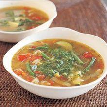 Summer Vegetable Minestra with Orzo and Arugula Pesto Recipe