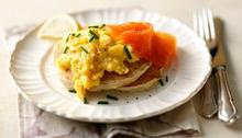Buckwheat blinis with scrambled eggs and smoked salmon Recipe