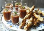 Gazpacho shots with pimenton and caraway seed twists Recipe