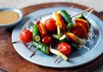 Oriental vegetable kebabs with peanut dressing Recipe