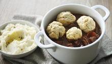 Beef and chorizo with horseradish mash and rosemary dumplings Recipe