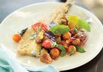 Cornmeal-Fried Trout with Tomato, Sorrel, and Basil Panzanella Recipe