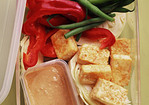 Crisp Tofu With Crudites and Sesame-Ginger Dipping Sauce Recipe