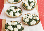 Mini Spinach-and-Cheese Pizzas Recipe